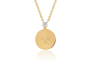 Prong Set Diamond Star Disc Necklace