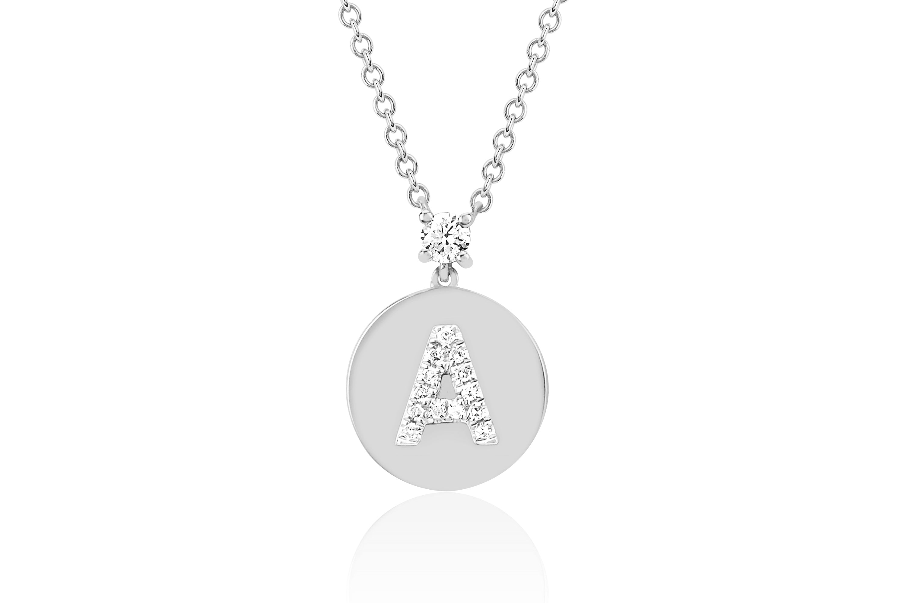 Initial Prong Set Diamond Disc Necklace