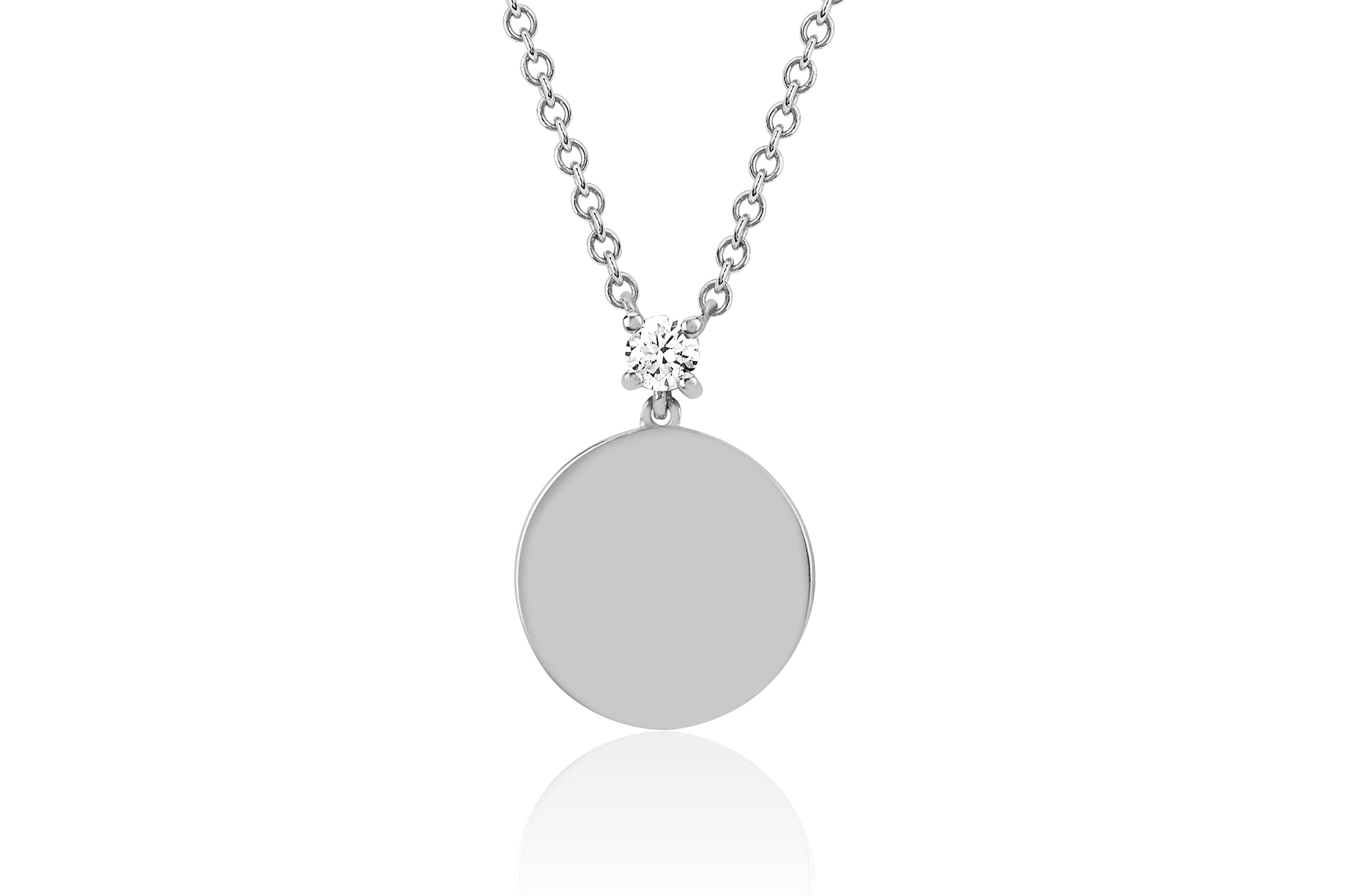 Prong Set Diamond Disc Necklace