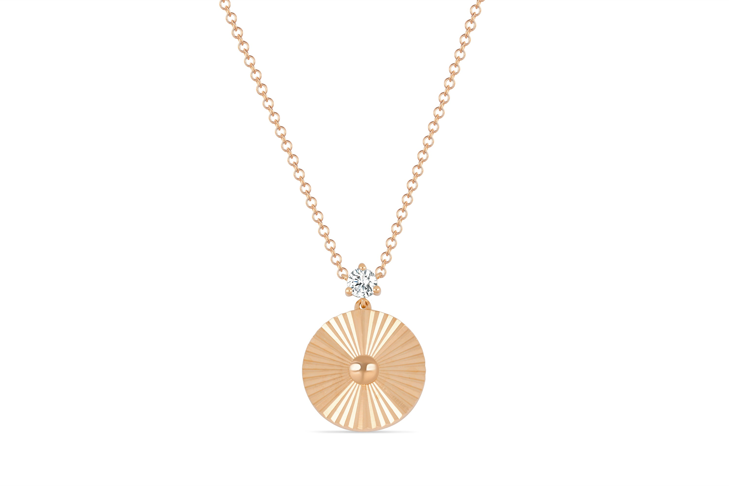 Prong Set Diamond Fluted Disc Necklace