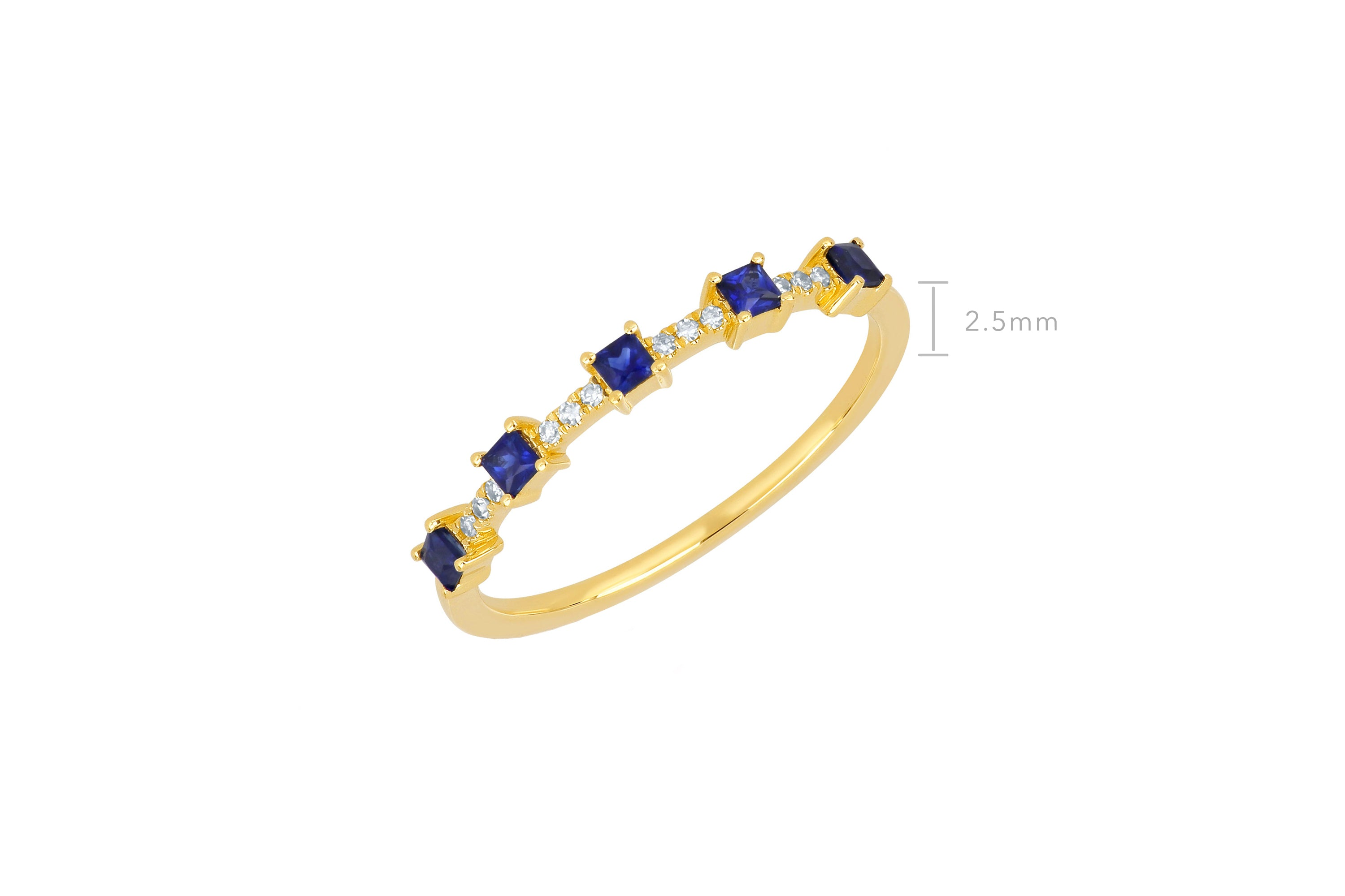 5 Blue Sapphire And Diamond Princess Stack Ring