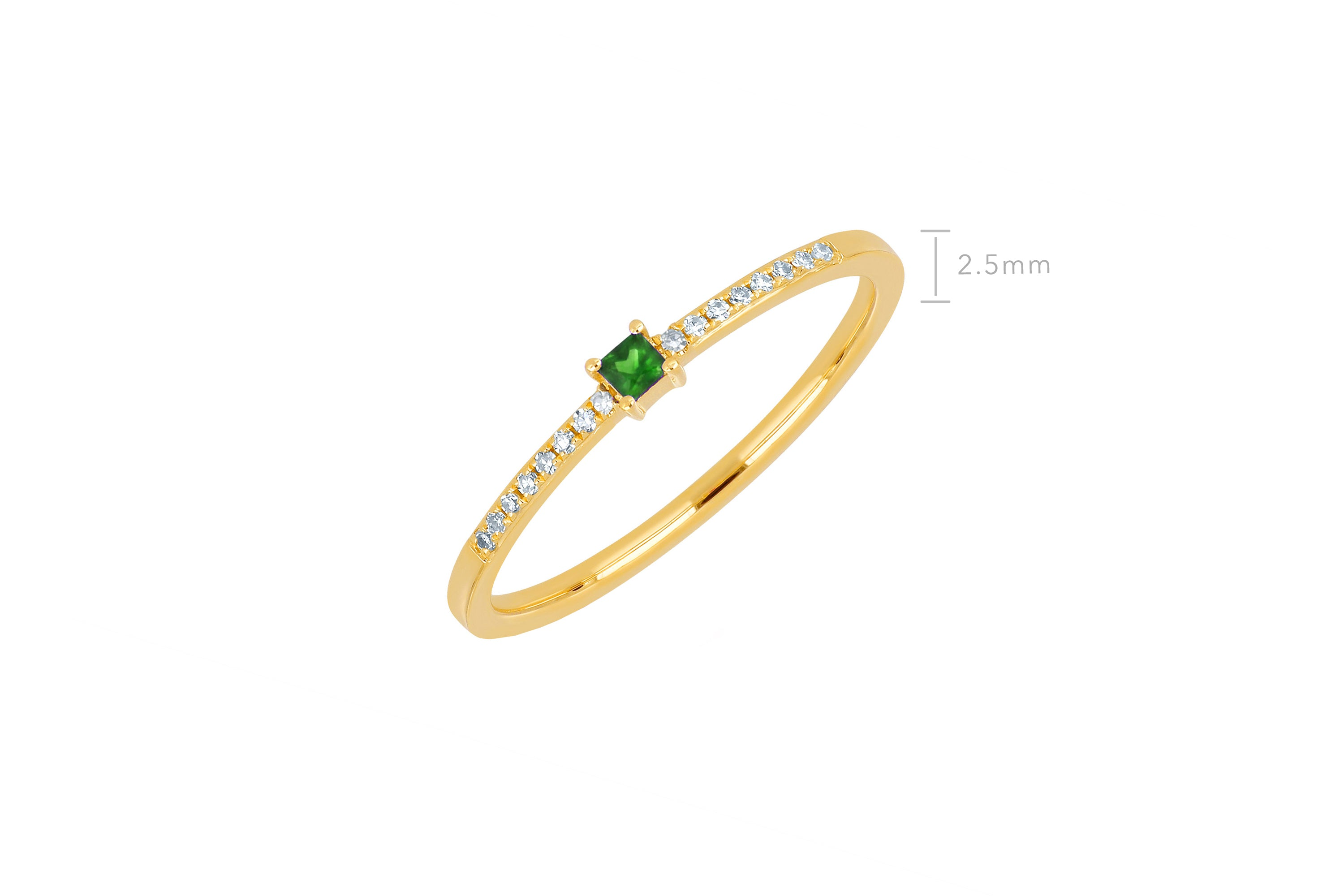 Tsavorite And Diamond Princess Stack Ring