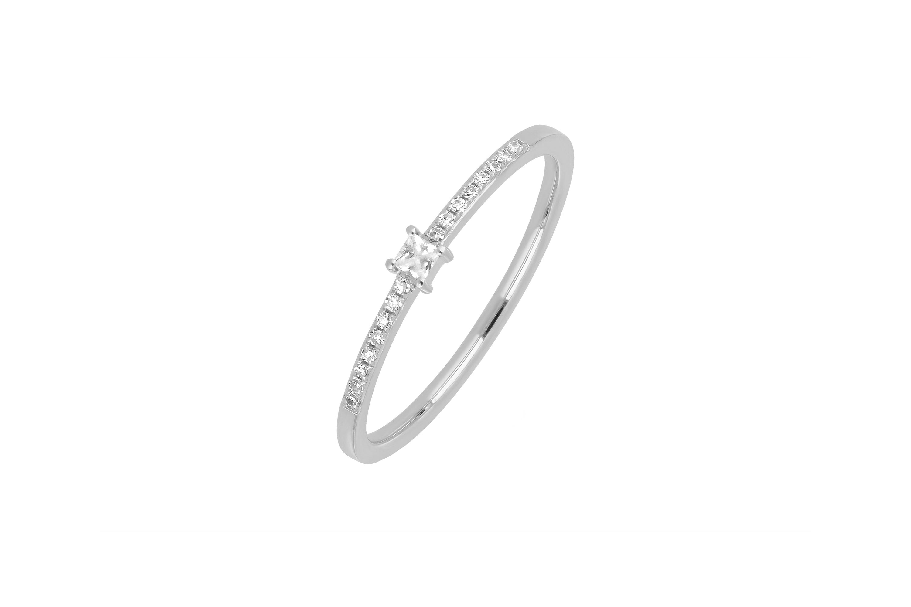 White Quartz And Diamond Princess Stack Ring