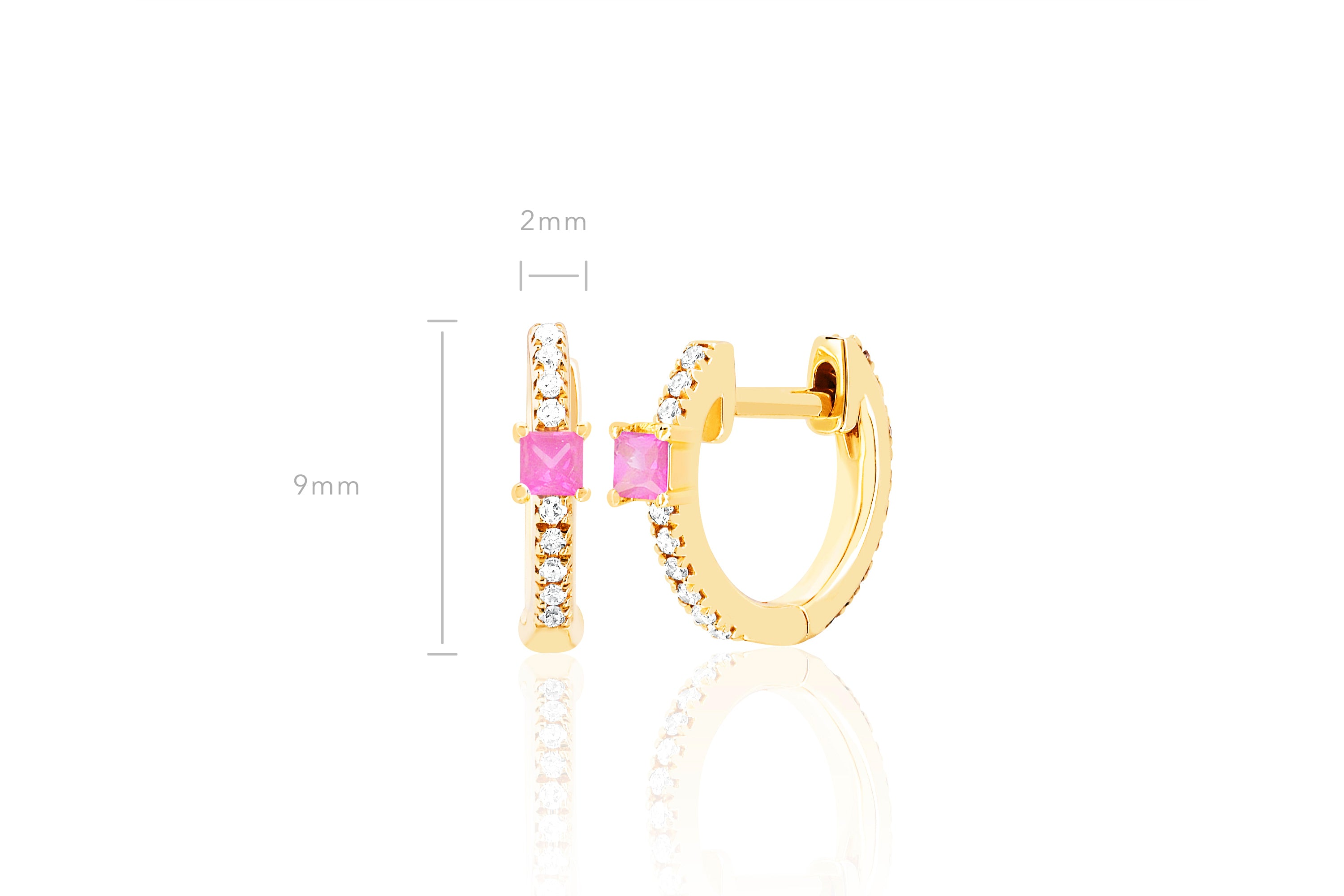 Pink Sapphire And Diamond Princess Mini Huggie Earring