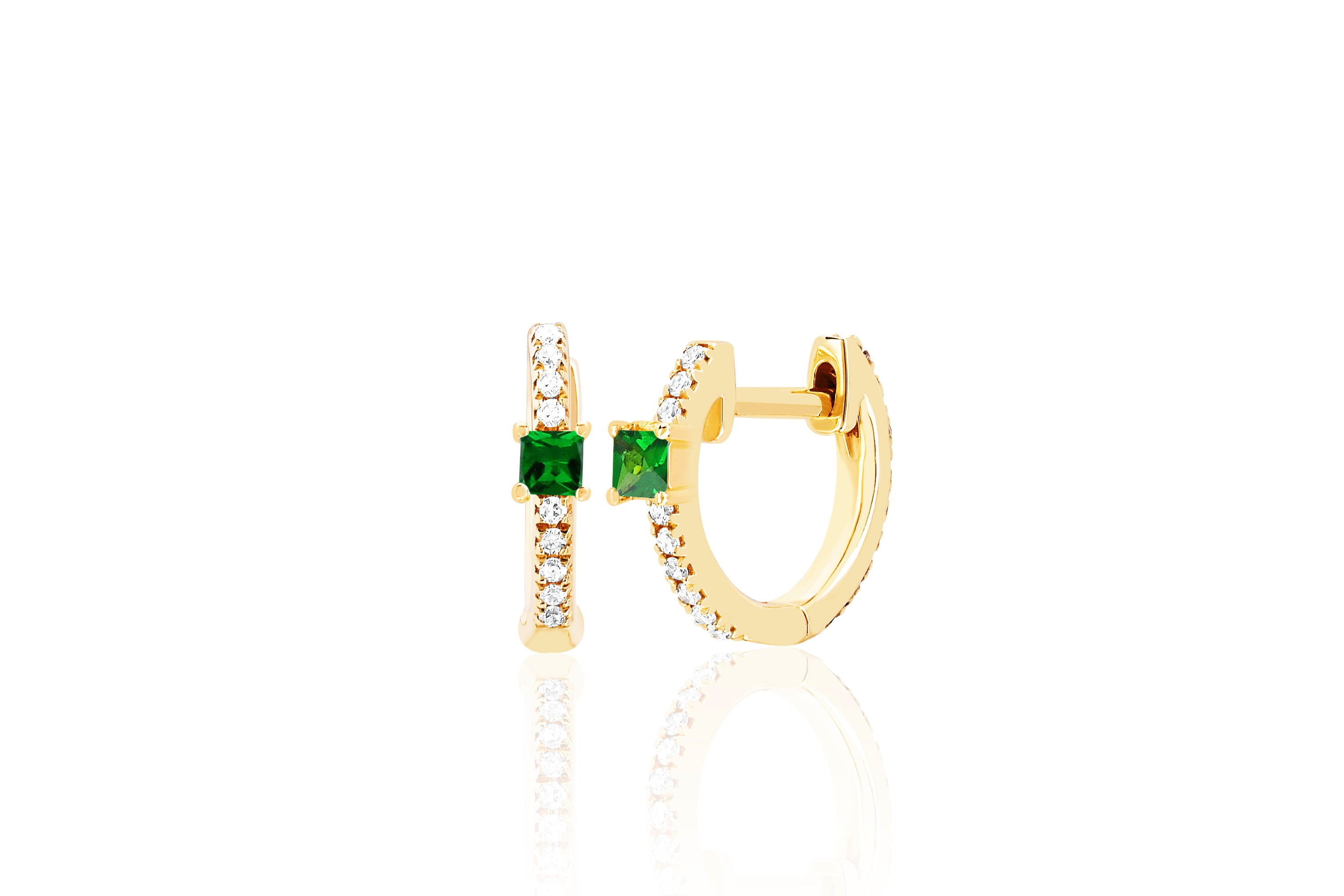 Tsavorite and Diamond Princess Mini Huggie Earring