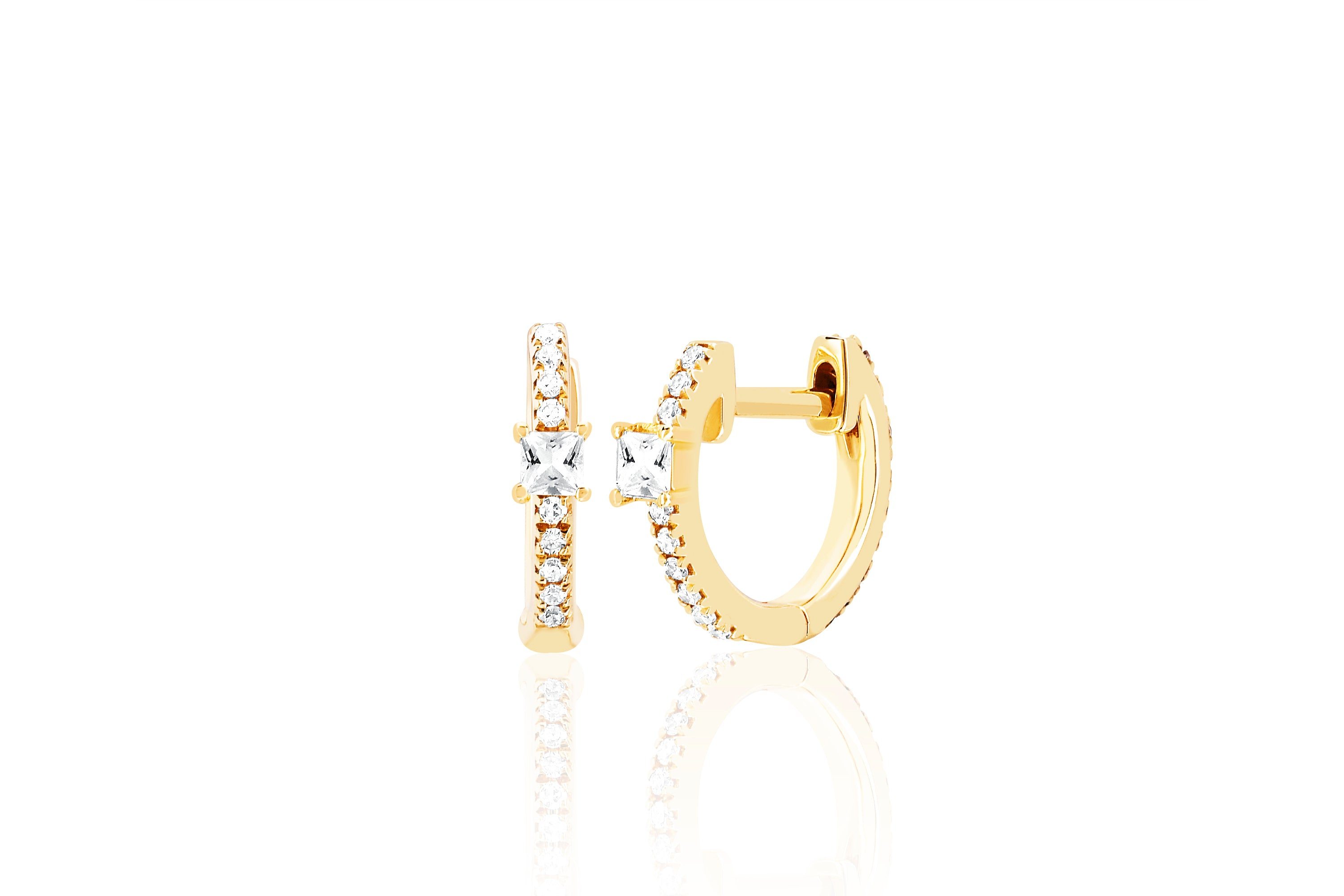 White Quartz And Diamond Princess Mini Huggie Earring