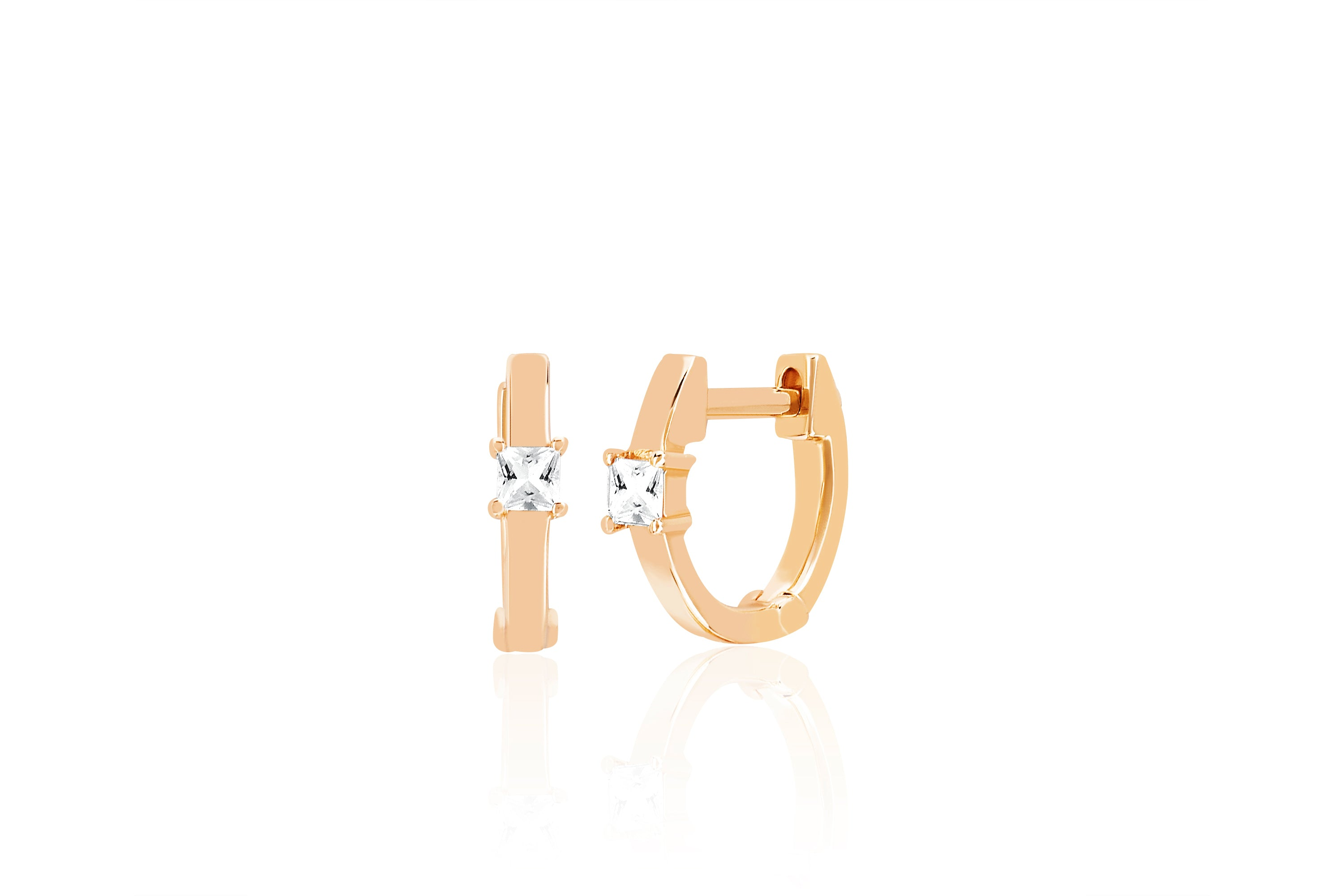 White Quartz Gold Princess Mini Huggie Earring
