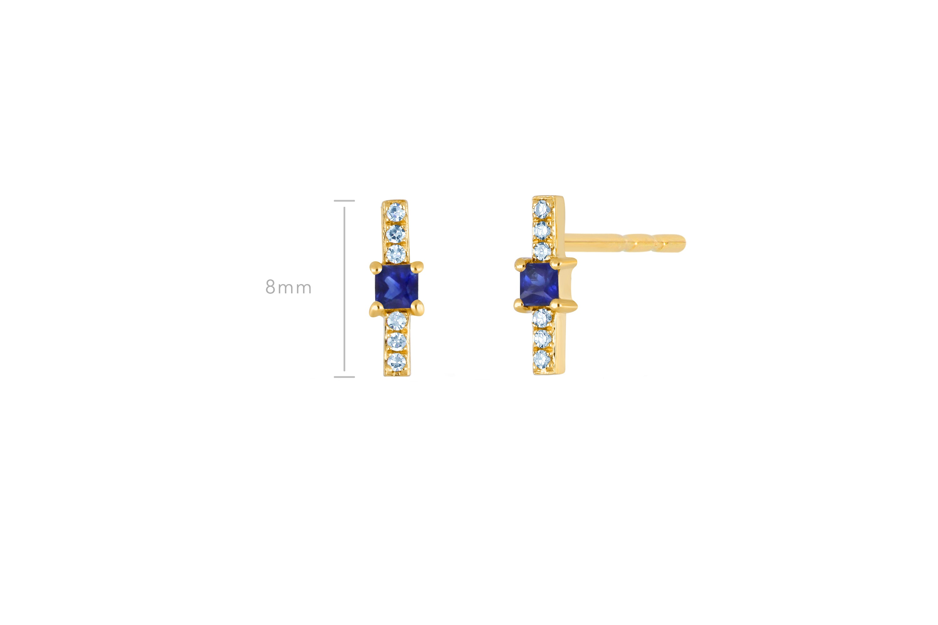 Blue Sapphire And Diamond Princess Bar Stud Earring