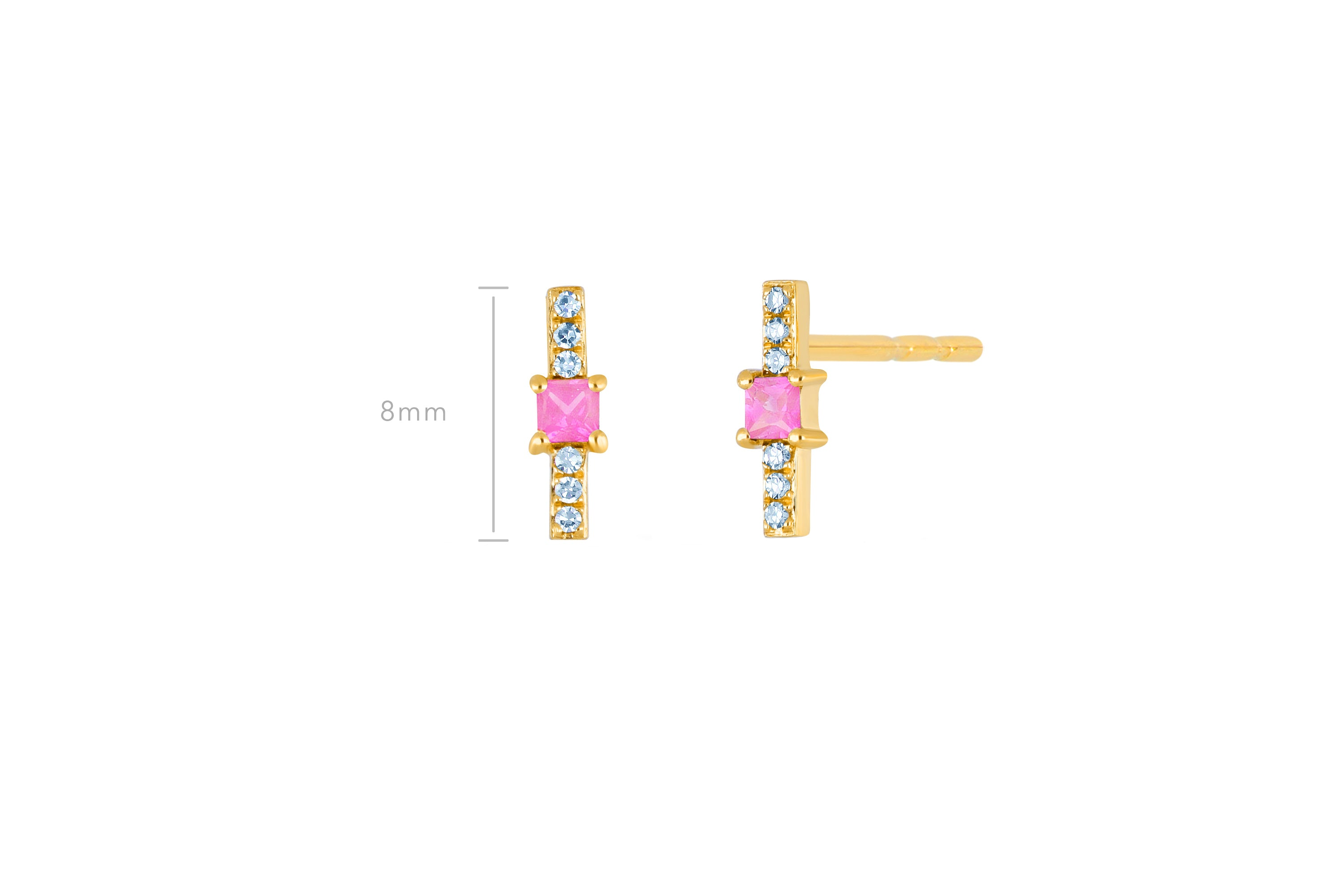 Pink Sapphire And Diamond Princess Bar Stud Earring