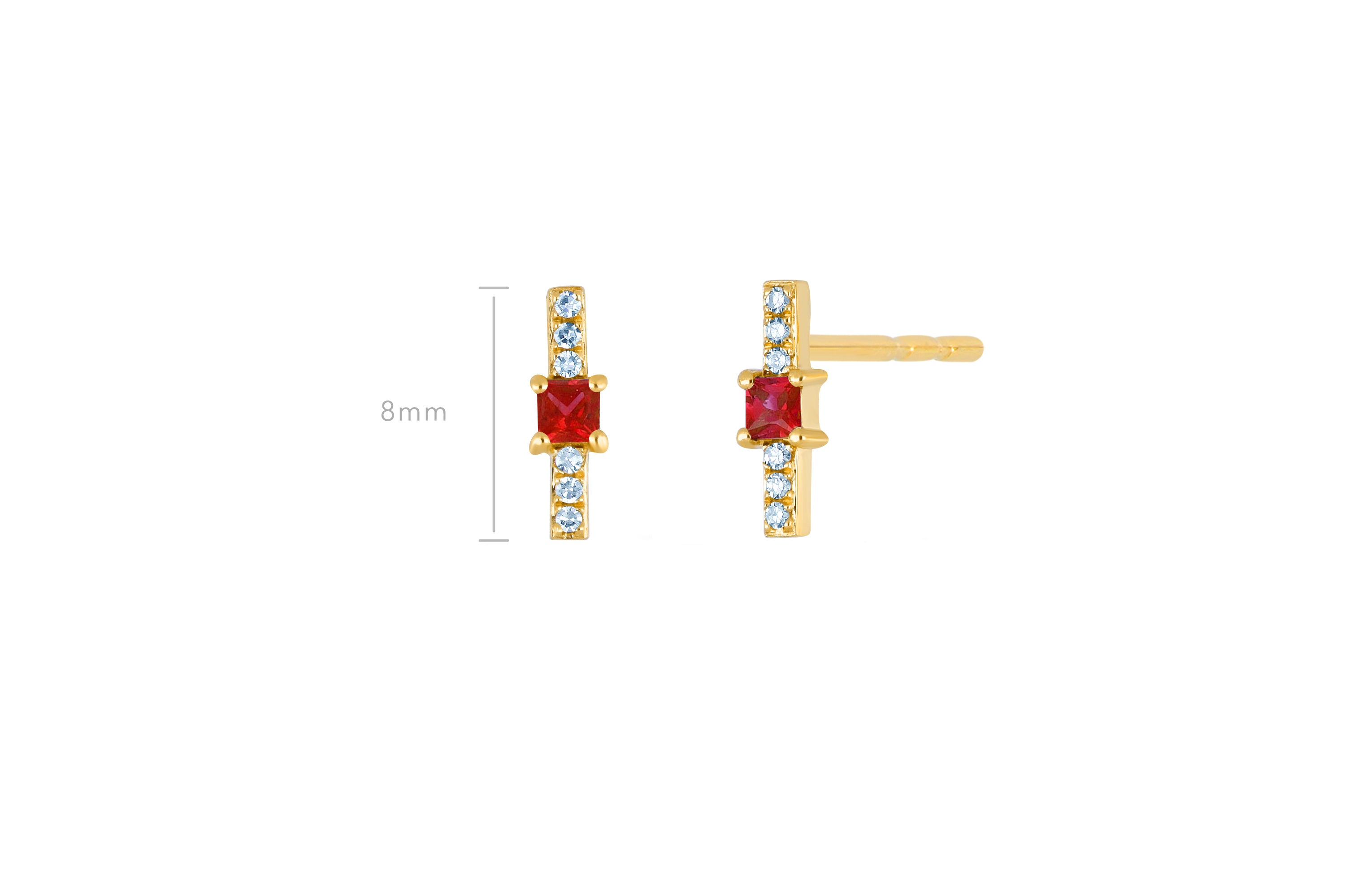 Ruby And Diamond Princess Bar Stud Earring