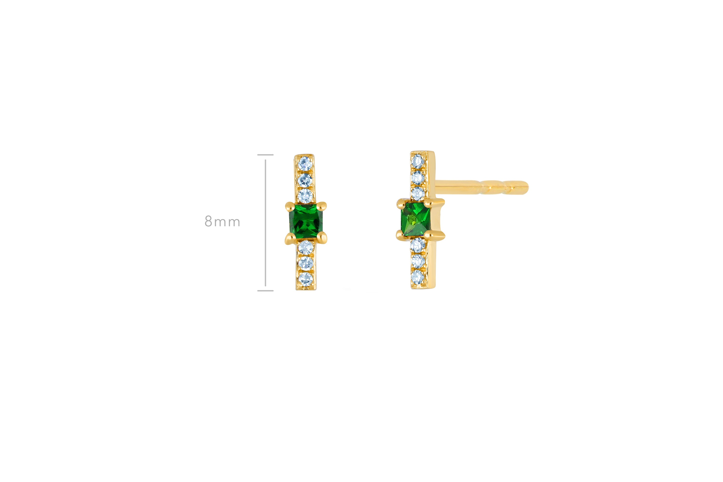 Tsavorite And Diamond Princess Bar Stud Earring