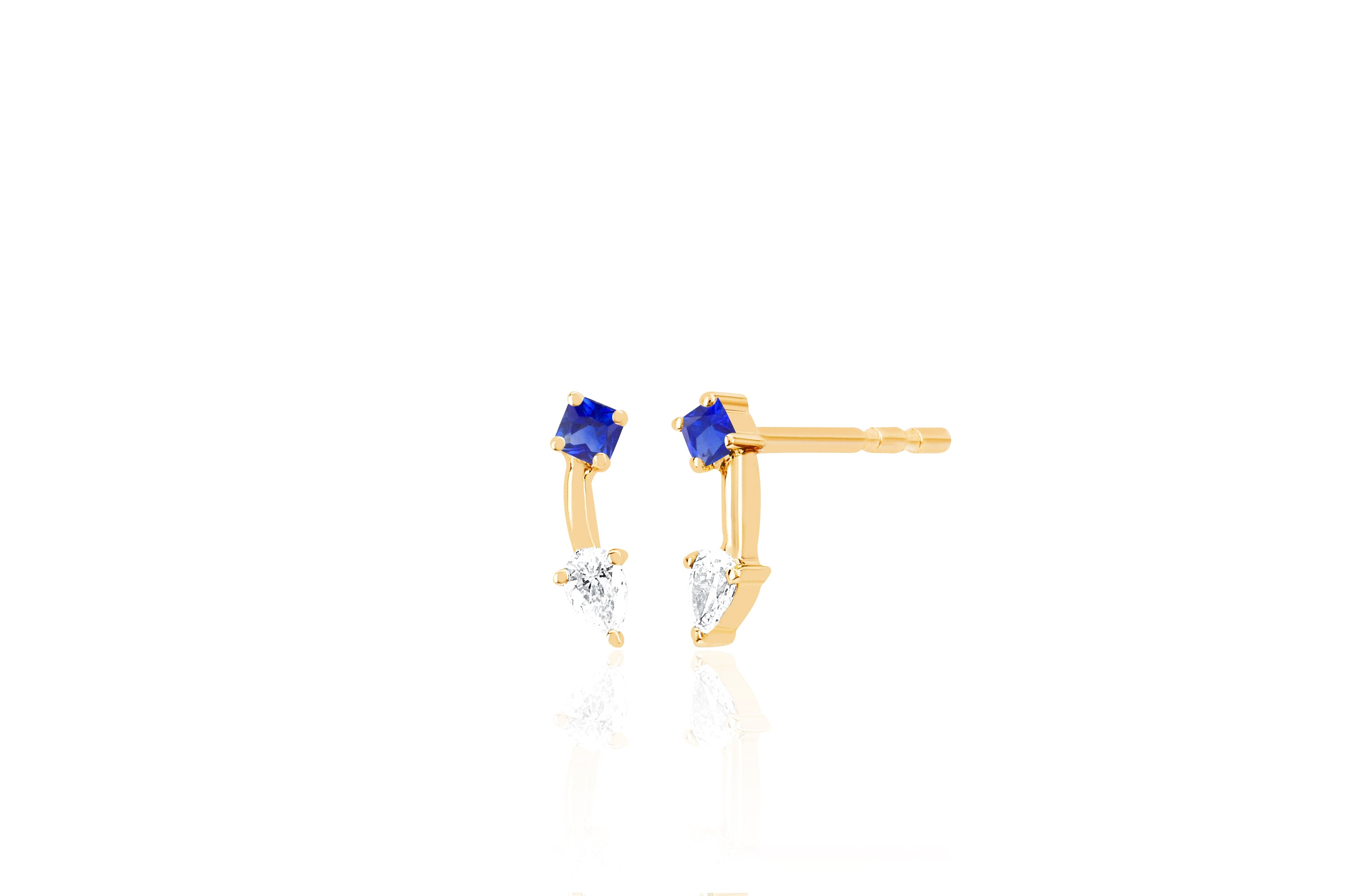 Blue Sapphire Princess And Pear Double Stud Earring