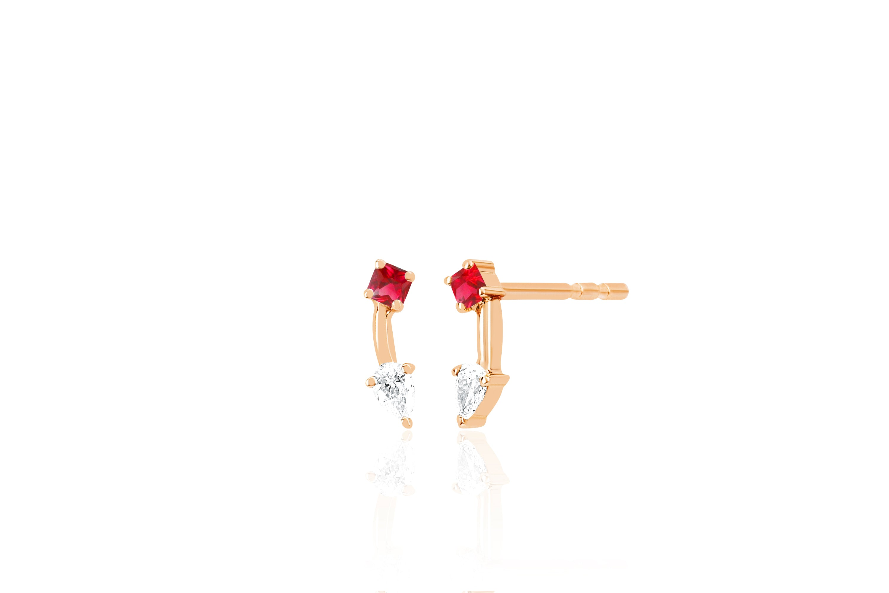 Ruby Princess And Pear Double Stud Earring