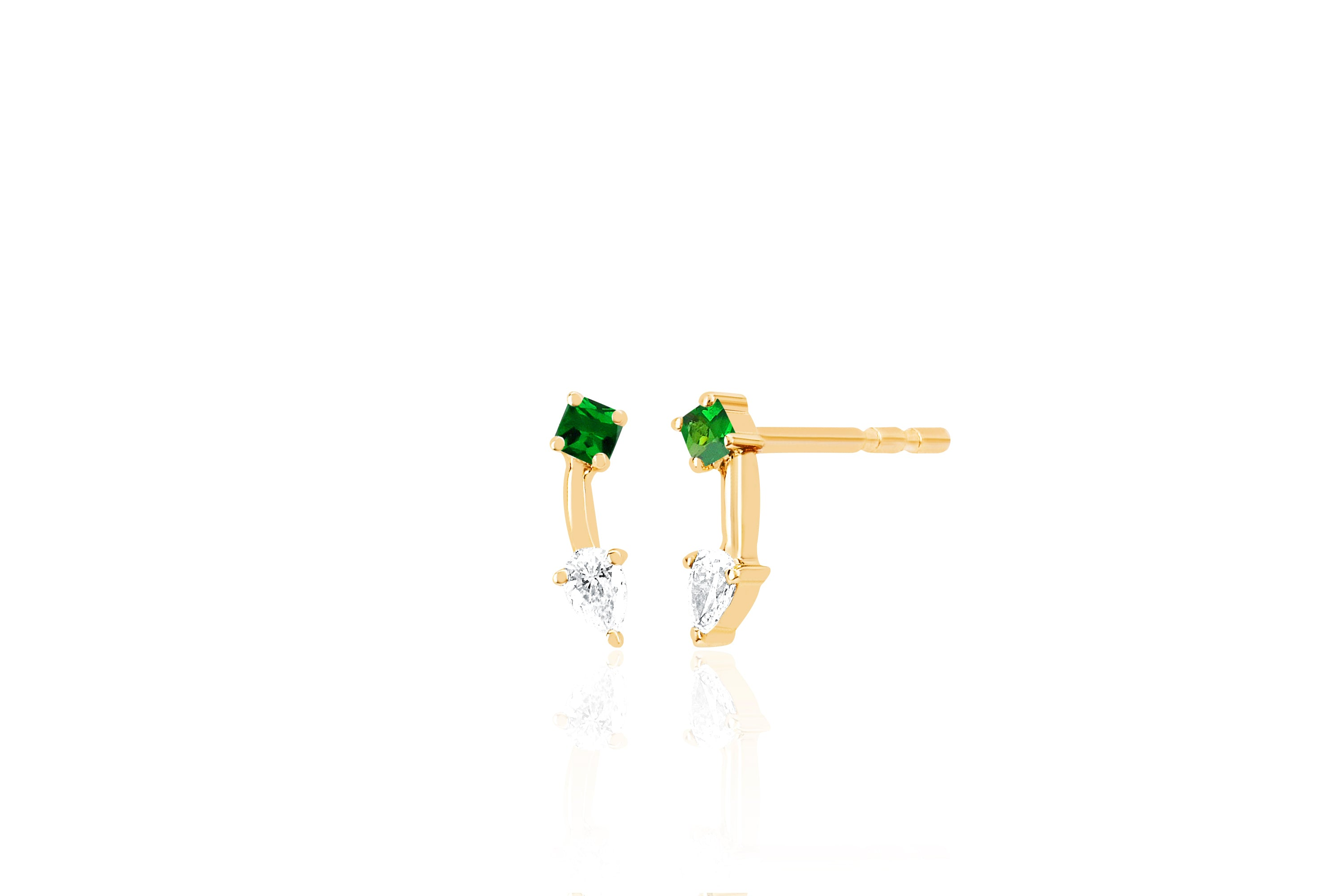 Tsavorite Princess And Pear Double Stud Earring
