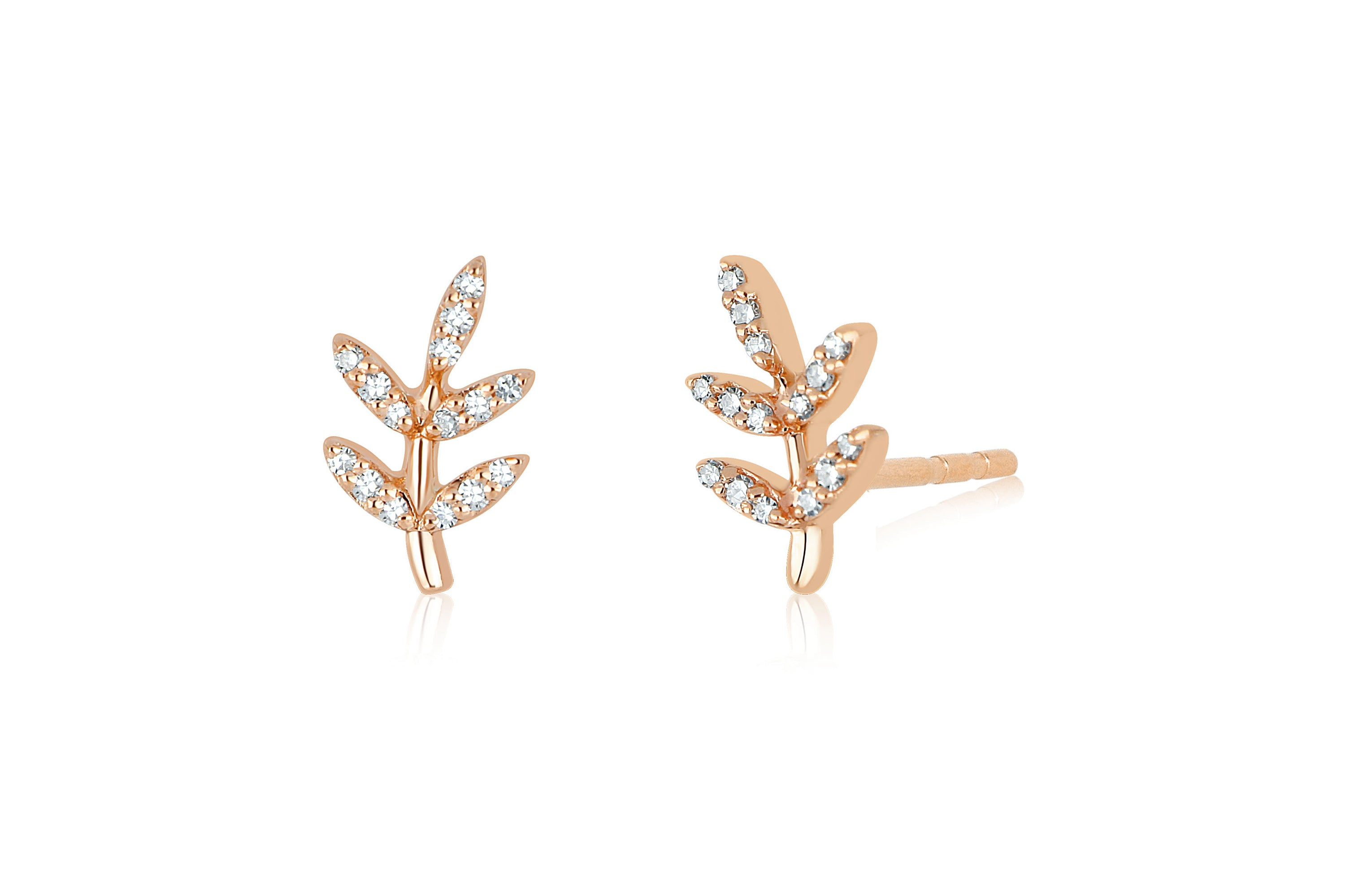 Diamond Leaf Stud Earring