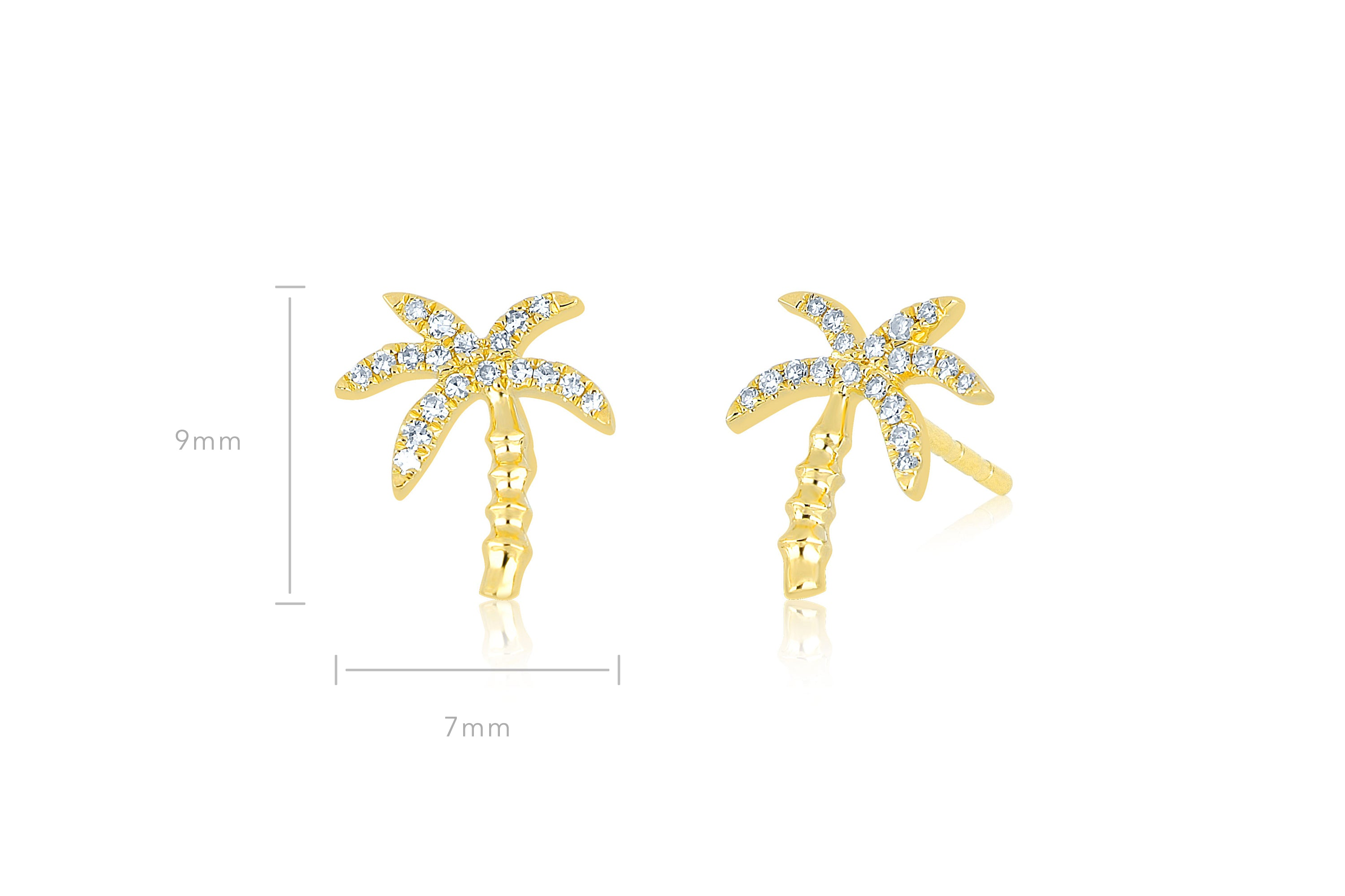 Diamond Wild Palm Stud Earring