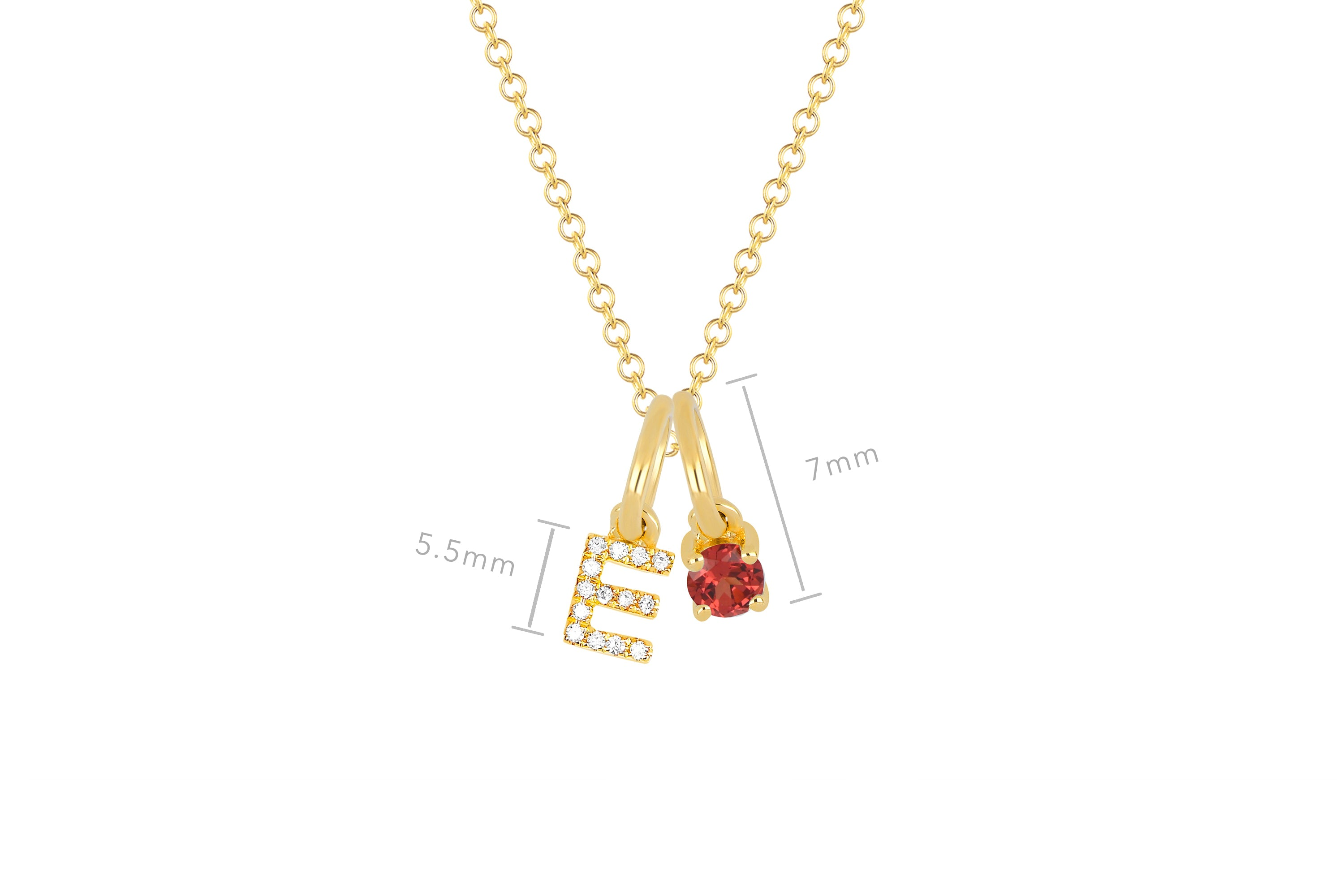 Garnet Birthstone Initial Charm Necklace