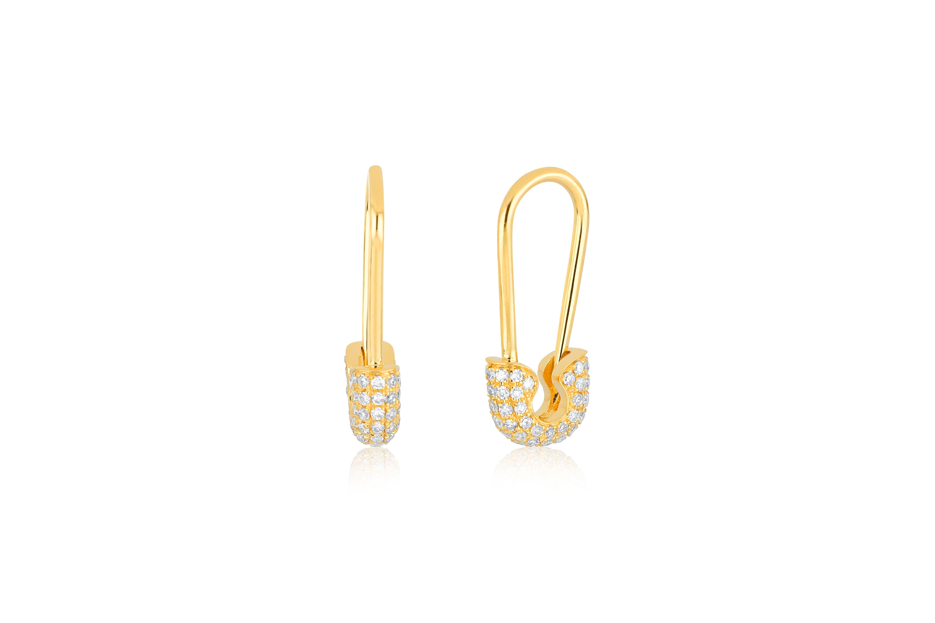 Single Diamond Safety Pin Earring