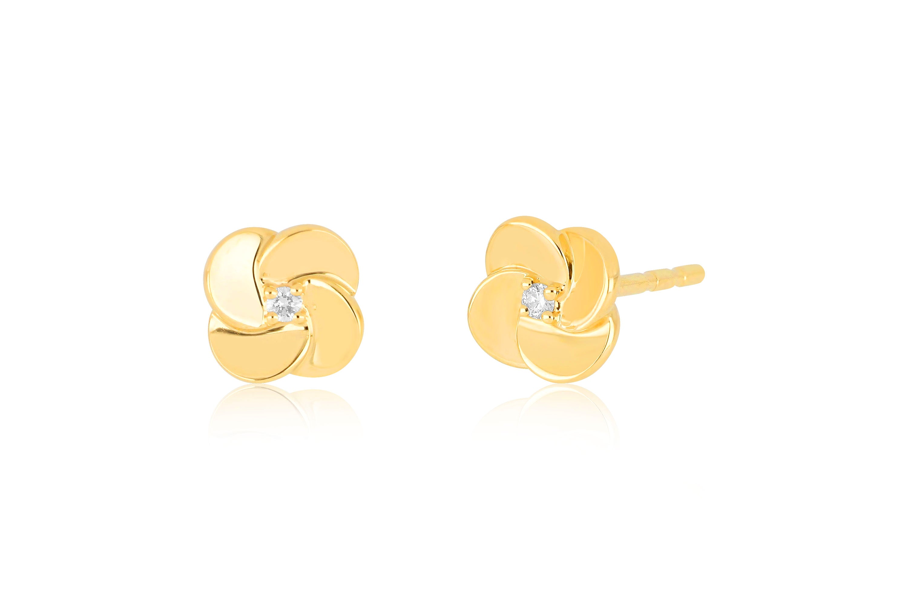 Gold And Diamond Petal Stud Earring