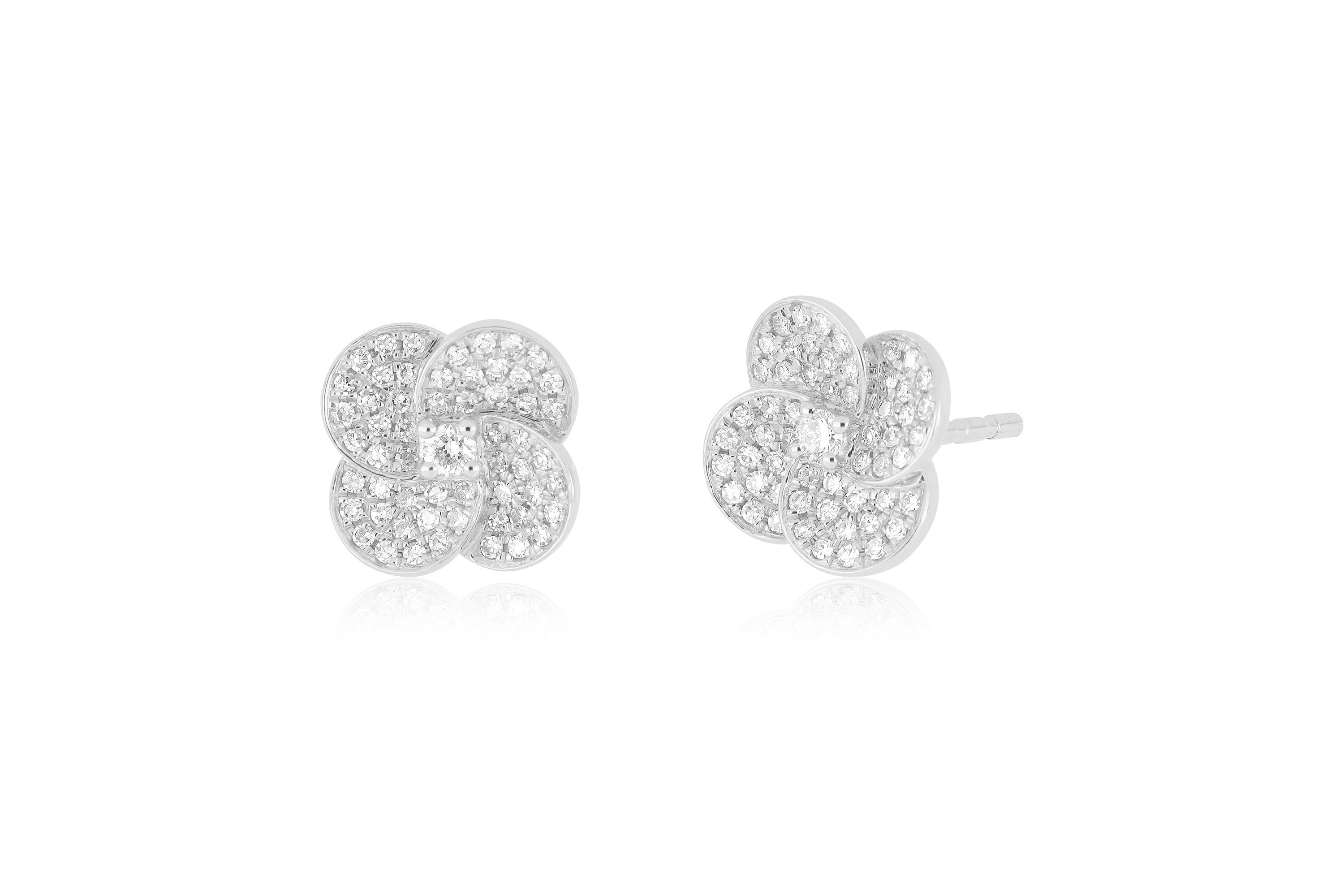 Diamond Jumbo Petal Stud Earring