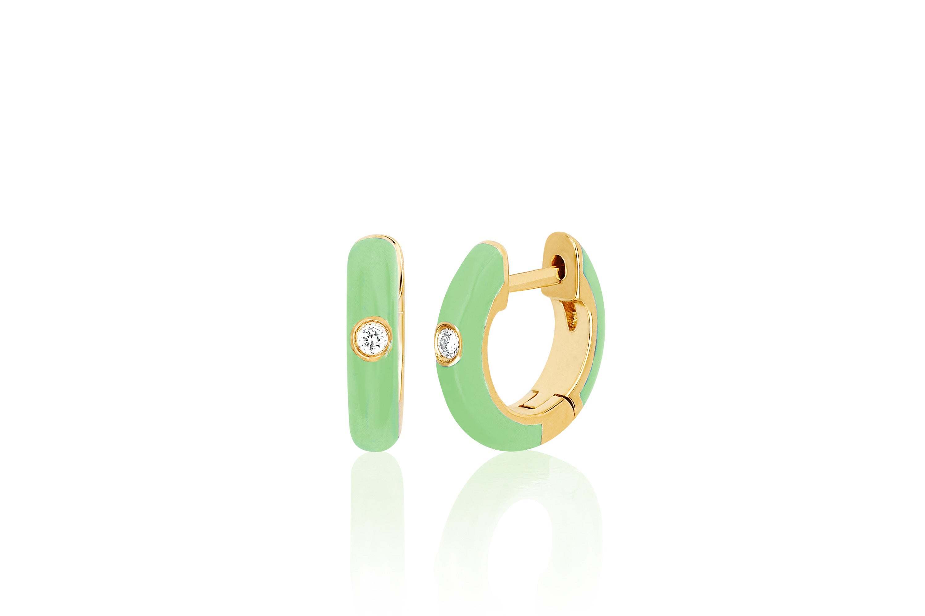 Diamond Mint Enamel Huggie Earring