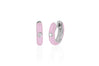 Diamond Light Pink Enamel Huggie Earring