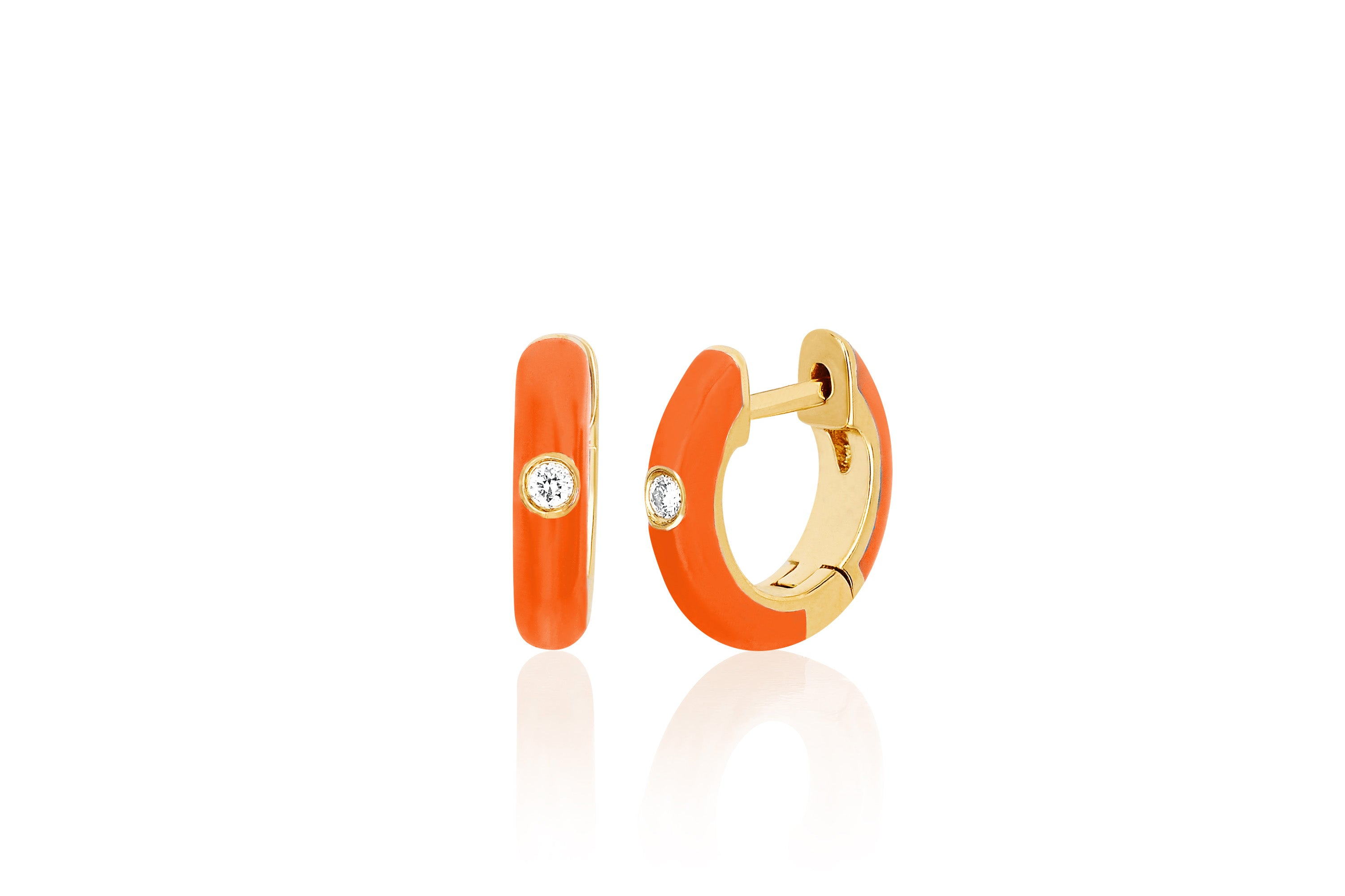 Diamond Orange Enamel Huggie Earring