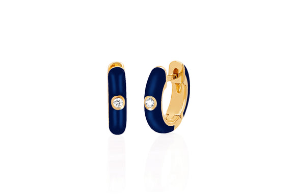 Diamond Navy Enamel Huggie Earring