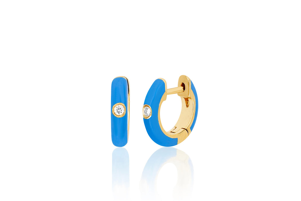 Diamond Blue Enamel Huggie Earring