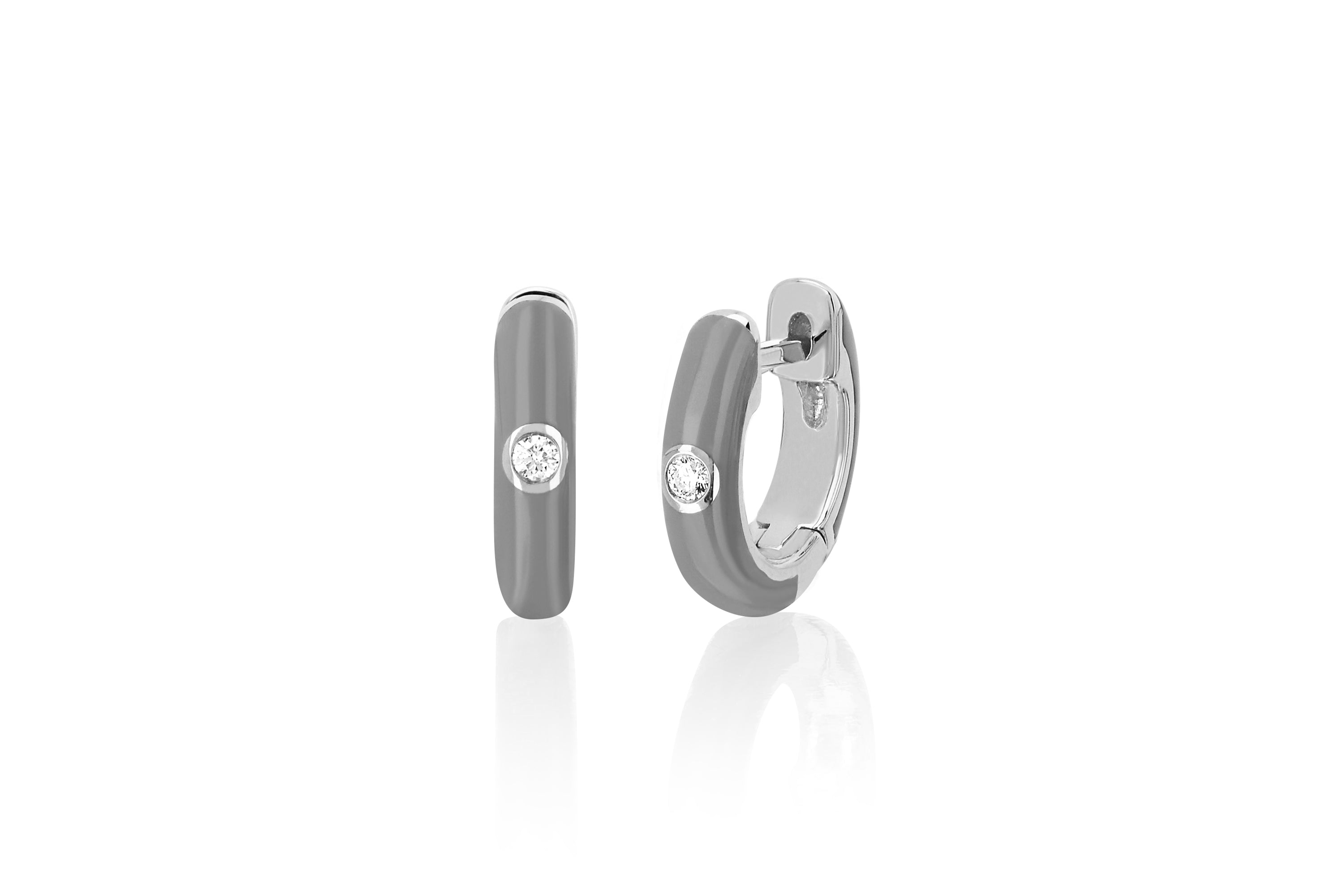 Diamond Light Grey Enamel Huggie Earring
