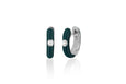 Diamond Hunter Green Enamel Huggie Earring