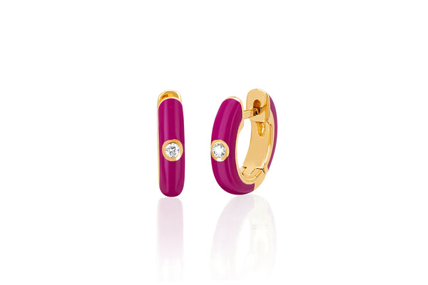 Diamond Berry Enamel Huggie Earring