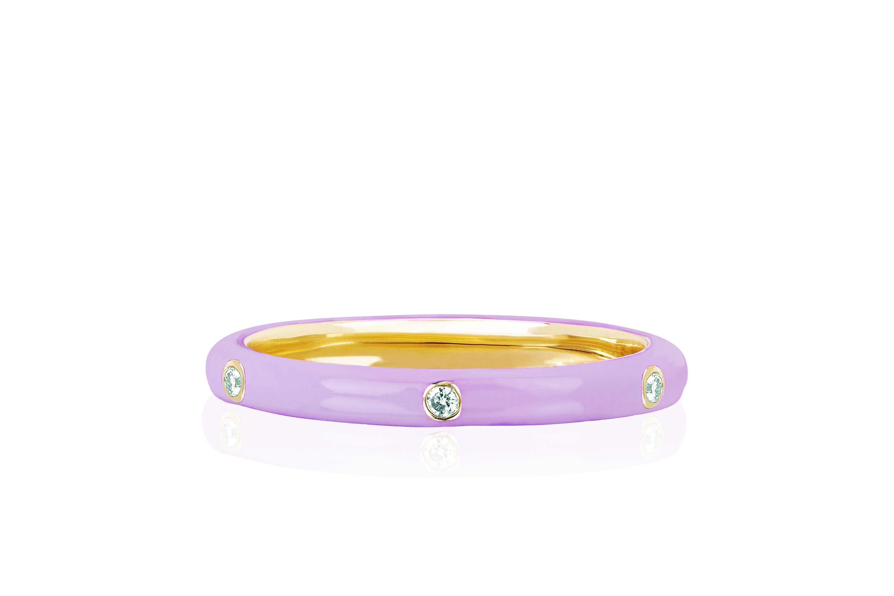 3 Diamond Lavender Enamel Stack Ring