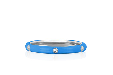 3 Diamond Blue Enamel Stack Ring