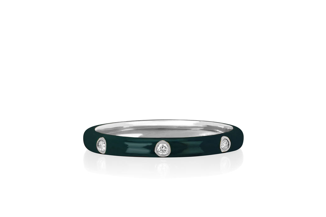 3 Diamond Hunter Green Enamel Stack Ring