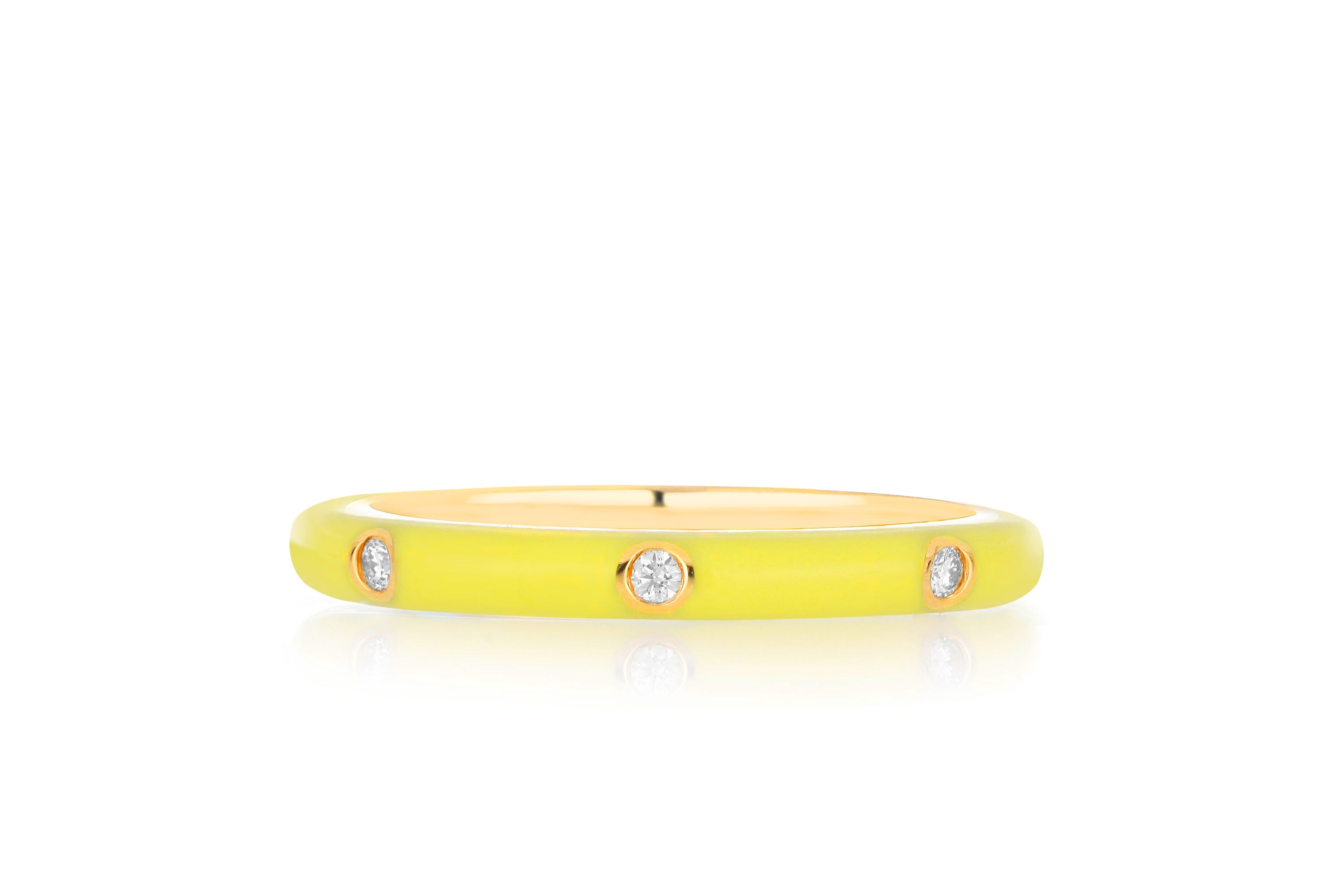 3 Diamond Yellow Enamel Stack Ring