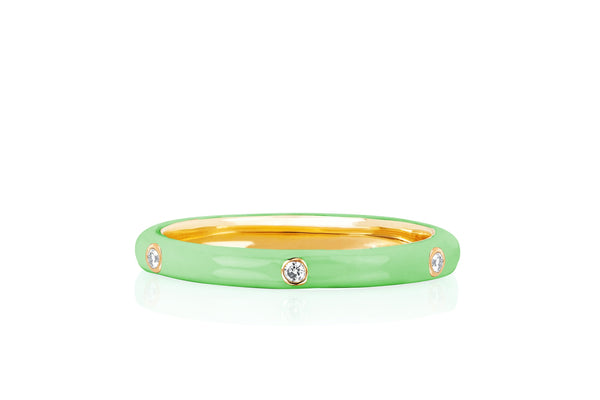 3 Diamond Mint Enamel Stack Ring
