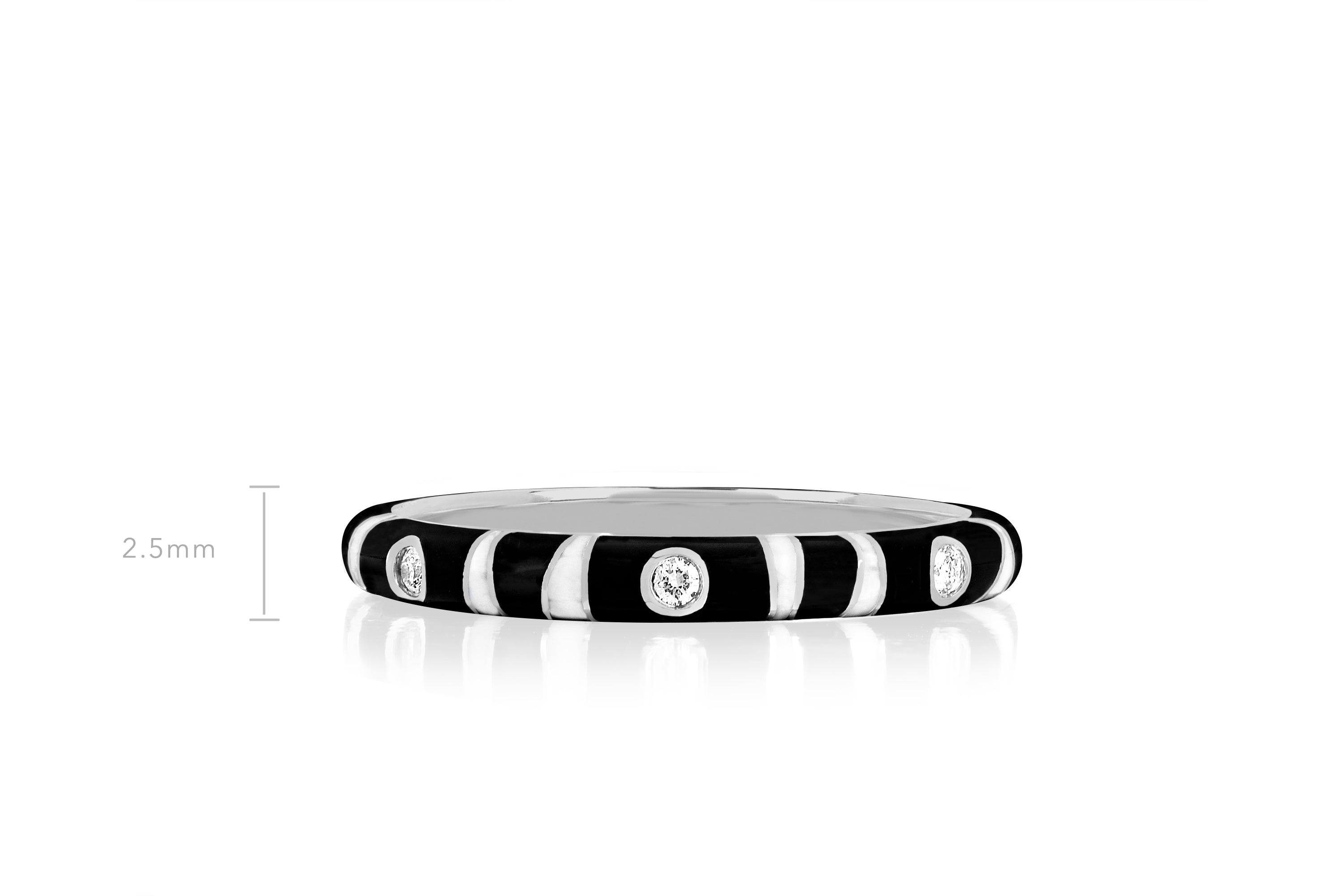 3 Diamond Zebra Enamel Ring