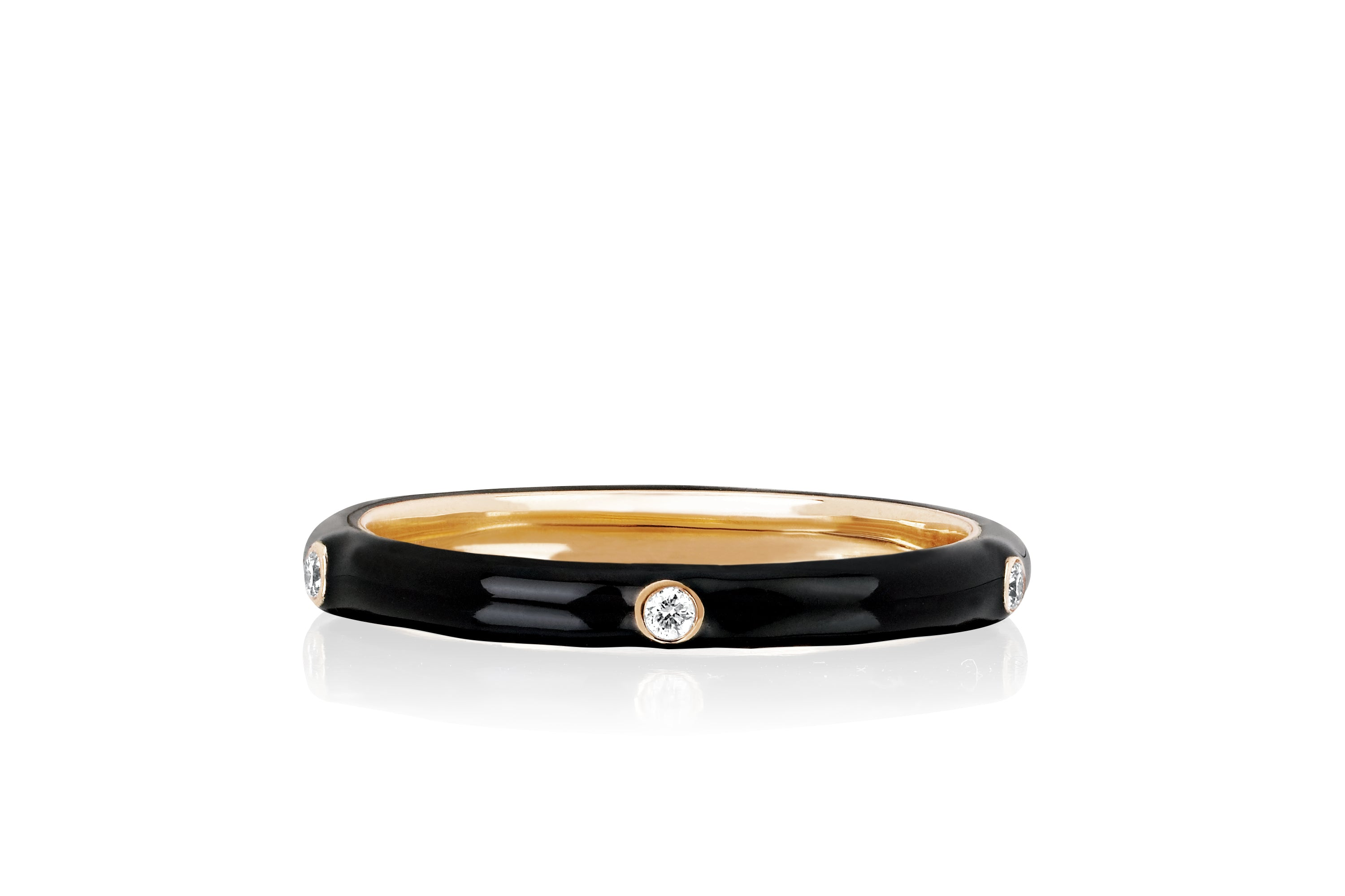 5 Diamond Black Enamel Stack Ring