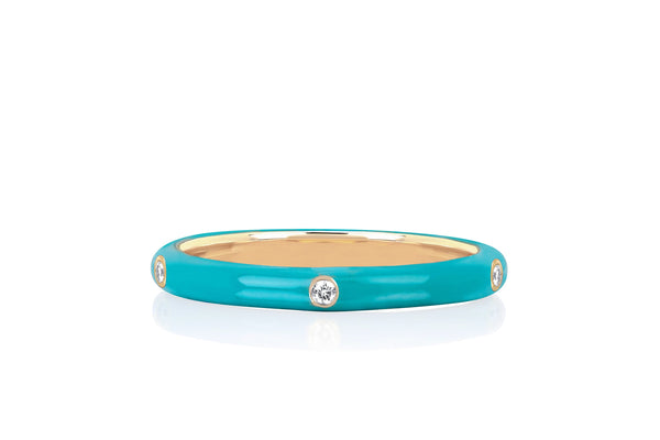 5 Diamond Turquoise Enamel Stack Ring