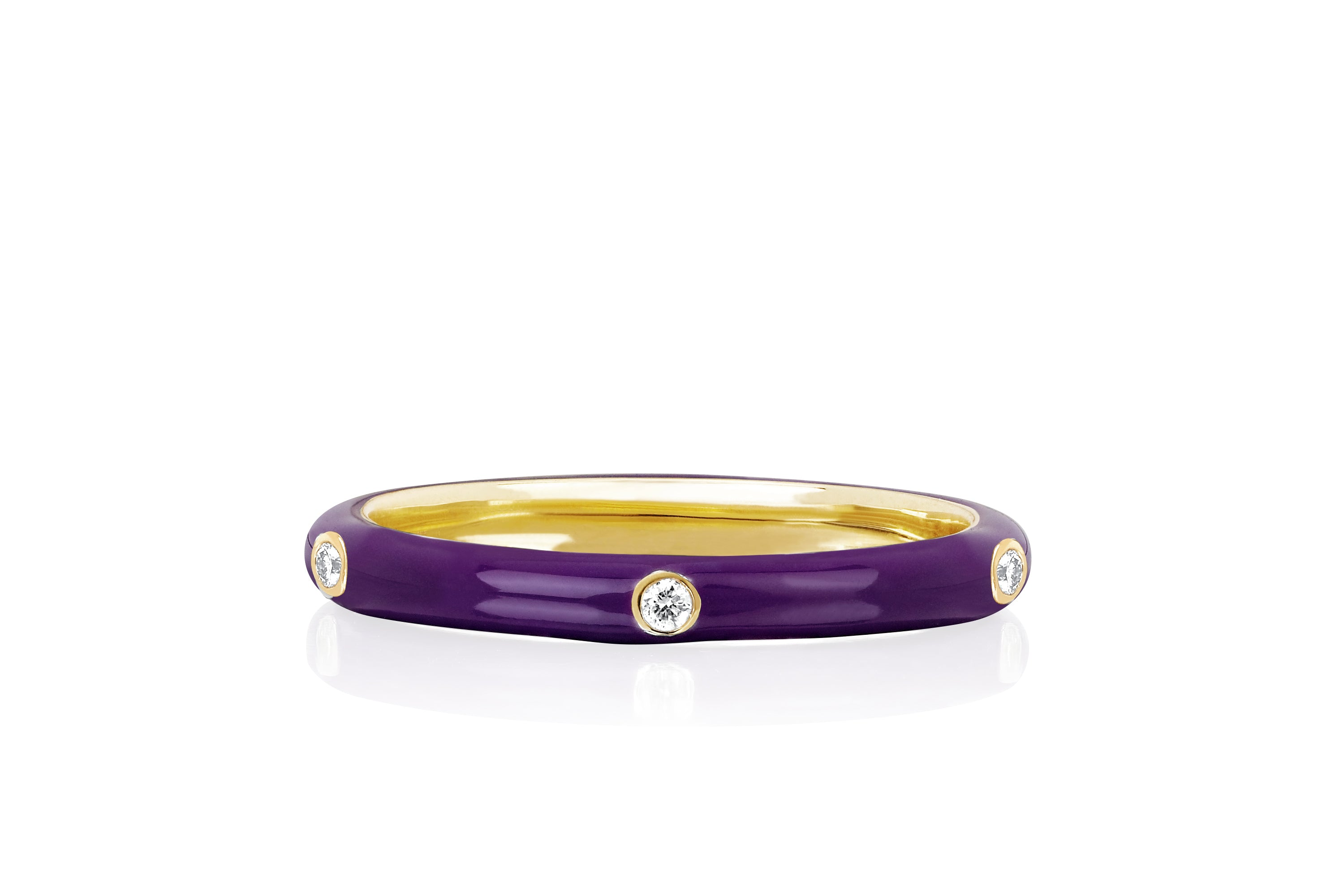 5 Diamond Ultra Violet Enamel Stack Ring