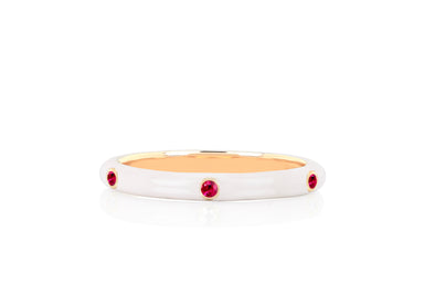 3 Ruby White Enamel Stack Ring