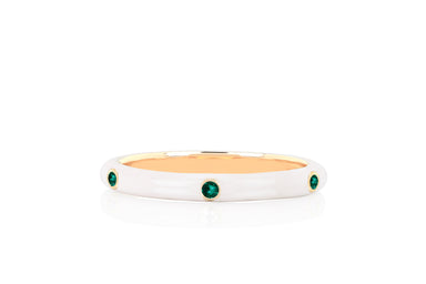 3 Tsavorite White Enamel Stack Ring