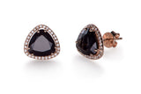 EF Collection Diamond Black Onyx Slice Stud Earrings - 1