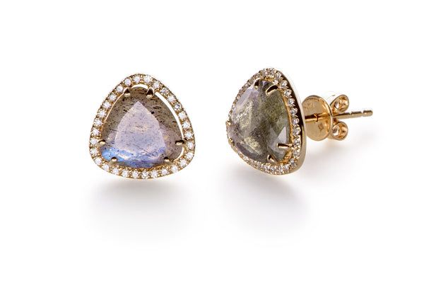 EF Collection Diamond Labradorite Slice Stud Earrings - 1