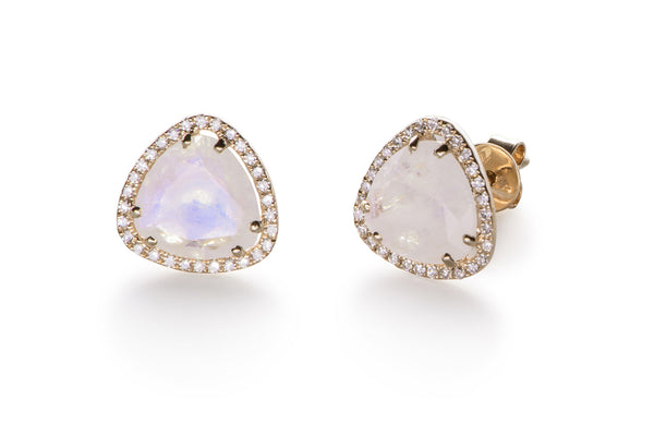EF Collection Diamond Moonstone Slice Stud Earrings - 1