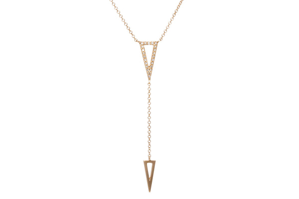 EF Collection Diamond Double Triangle Lariat Necklace - 1