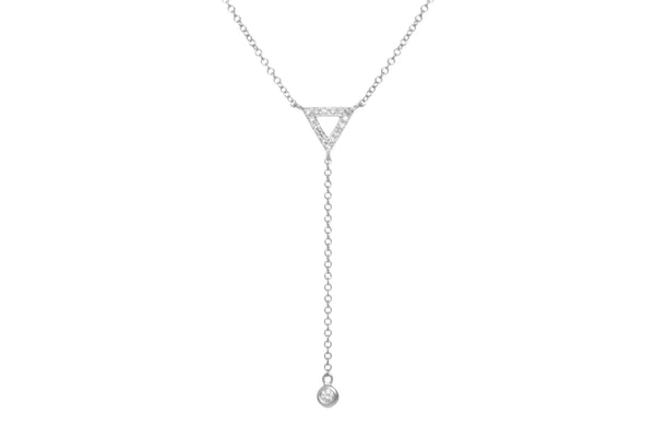 EF Collection Diamond Triangle Lariat Necklace - 1