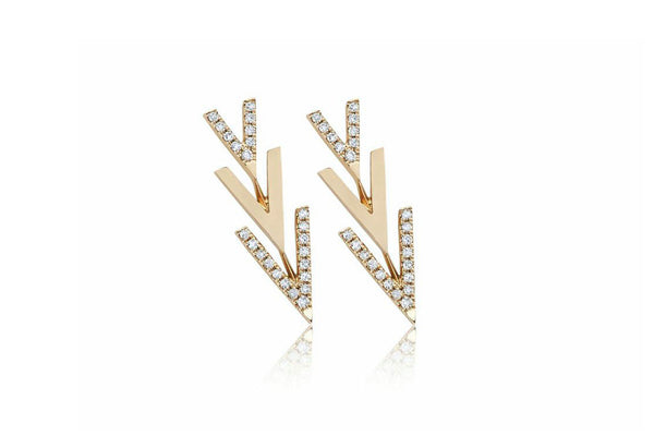 "EF Collection Partial Diamond Flying ""V"" Stud Earrings - 1"