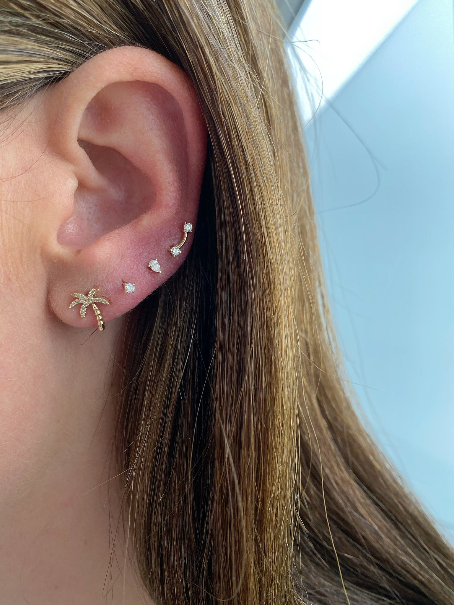 Double Solitaire Stud Earring